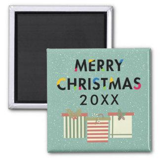Schablonen-Küchen-Magnet der frohen Weihnacht-20XX Quadratischer Magnet
