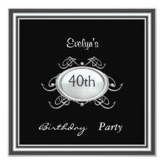 Schablonen-schwarze Geburtstags-Party Einladung