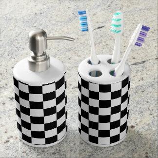 Schach-Brett-Schwarzweiss-Fliesen Seifenspender & Zahnbürstenhalter