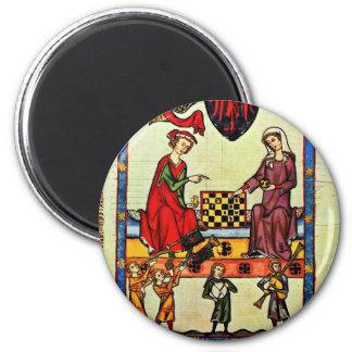 Schach, durch Meister Der Manessischen Liederhands Runder Magnet 5,1 Cm