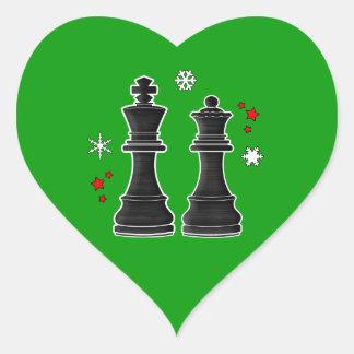 Schach-König und Königin am Weihnachten Herz-Aufkleber