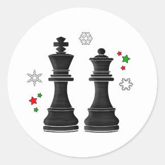Schach-König und Königin am Weihnachten Runder Aufkleber