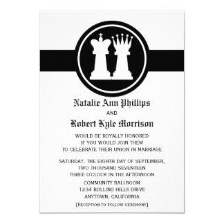 Schach-König-und Königin-Hochzeits-Einladung Karte