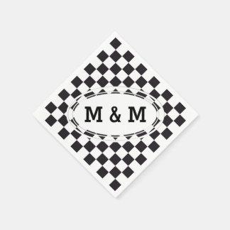 Schach-quadratisches Muster - Schwarzes + Ihr Text Papierservietten
