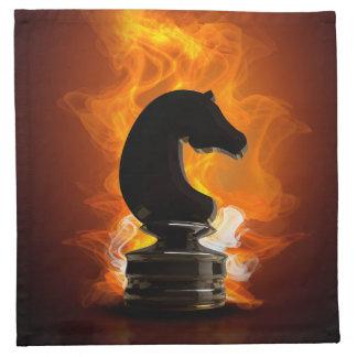 Schach-Ritter in den Flammen Serviette