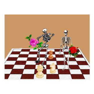 Schach-Skelette Postkarten