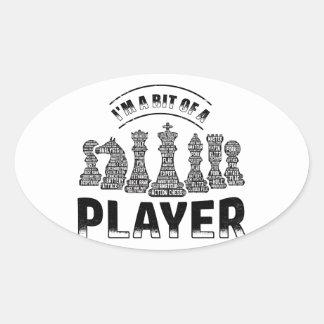 Schach-Spieler Ovaler Aufkleber