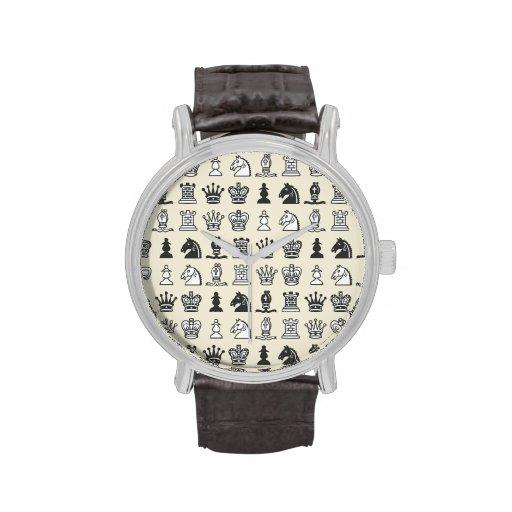 Schach-Stücke in den Reihen Armbanduhr