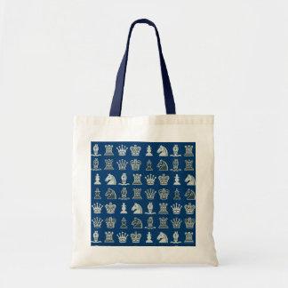 Schach-Stücke in der Reihen-blauen Tasche