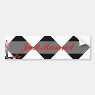 Schach und Rosen-gotische Hochzeit Auto Sticker