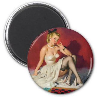 Schachbrett-Button oben Runder Magnet 5,7 Cm