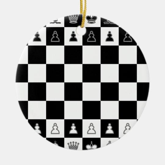Schachbrett chess board rundes keramik ornament