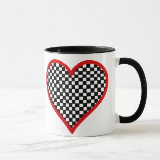 Schachbrett-Herz-Tasse des Valentines Tages Tasse