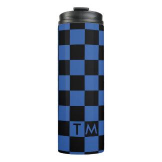 Schachbrett-Monogramm blaues/schwarzes CMXR Thermosbecher