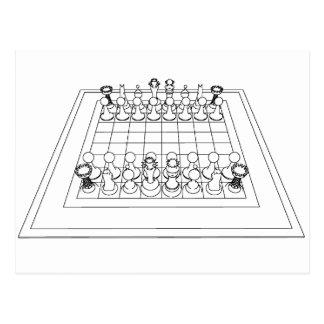 Schachbrett-u. Schach-Stücke: Postkarte
