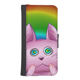 Schachtel rosa Katze iPhone SE/5/5s Geldbeutel Hülle