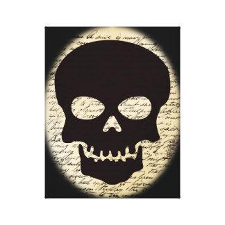 Schädel auf Vintager Text-Leinwand Leinwanddruck