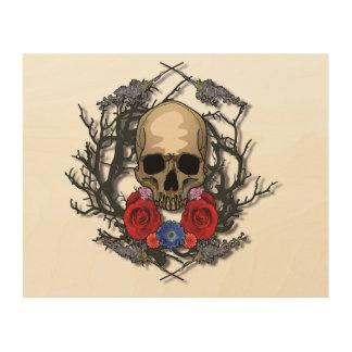 Schädel Blumen-der hölzernen Platten-Kunst Holzleinwand