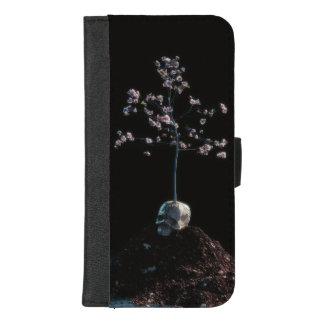 Schädel-Blüten-Telefon-Kasten iPhone 8/7 Plus Geldbeutel-Hülle