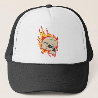 Schädel-brennender Hut Truckerkappe