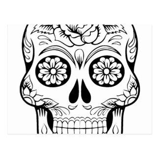 Schädel, der mit schwarzer Tinte im weißen Postkarte