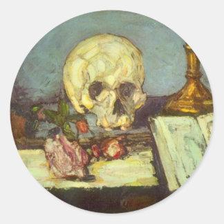 Schädel des Stillleben-w, Kerze, Buch durch Paul Runder Aufkleber