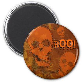 """Schädel-Erscheinungenorange """"Boo!"""" Runder Magnet 5,7 Cm"""