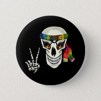 Schädel-Frieden Runder Button 5,7 Cm
