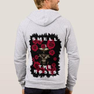 Schädel-Geruch der Rosen-Fleece-ZipHoodie Hoodie