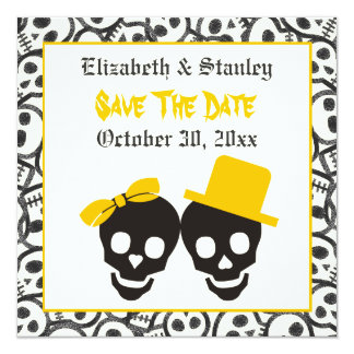 Schädel-Halloween gelbes wedding Save the Date Karte