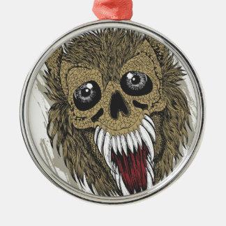 Schädel-Hund Silbernes Ornament