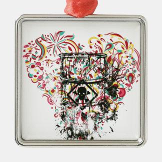 Schädel im Glas, Vintages Herz Silbernes Ornament