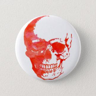 Schädel im Rot Runder Button 5,7 Cm