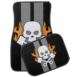 Schädel-Kolben-Flammen-graue Rennen-Streifen Autofußmatte