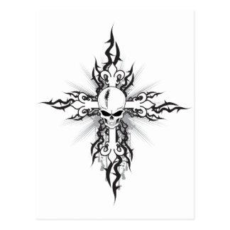 Schädel-Kruzifix Postkarte