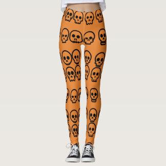 Schädel-Kürbis-Orangen-Muster Halloweens kleines Leggings