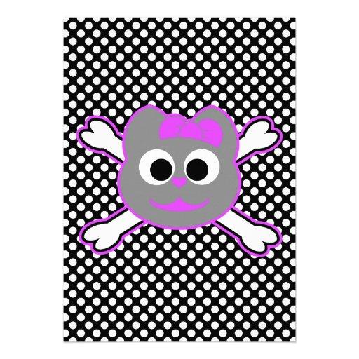 Schädel-Miezekatze-purpurrotes Grau Personalisierte Ankündigungen