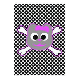 Schädel-Miezekatze-purpurrotes Grau 12,7 X 17,8 Cm Einladungskarte
