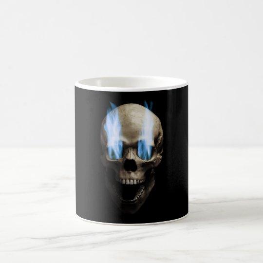 Schädel mit blauen Flammen Kaffeetasse