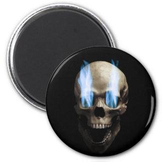 Schädel mit blauen Flammen Runder Magnet 5,7 Cm