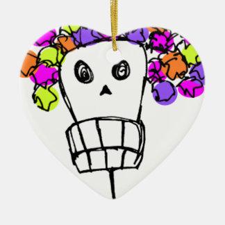 Schädel mit Blumen Keramik Herz-Ornament