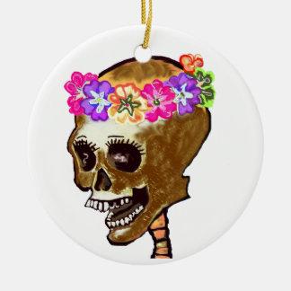 Schädel mit Blumen Keramik Ornament