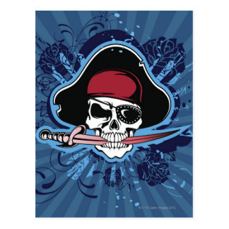 Schädel mit dem Hut, dem Eyepatch und der Klinge Postkarte