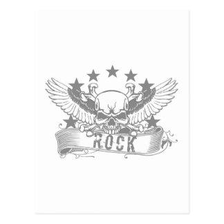 Schädel mit Flügel-Felsen-Fahne Postkarte