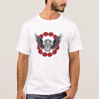 Schädel mit Flügeln und Rosen-T - Shirt
