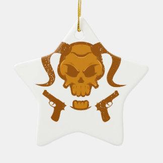 Schädel mit Gewehr Keramik Ornament