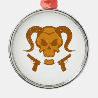 Schädel mit Gewehr Silbernes Ornament