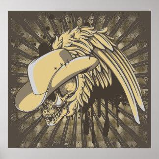 Schädel mit Hut und Flügel auf Poster