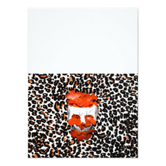Schädel mit orange Blumen auf Leopard-Druck 14 X 19,5 Cm Einladungskarte