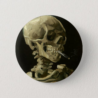 Schädel mit Zigarette durch Van Gogh Runder Button 5,1 Cm